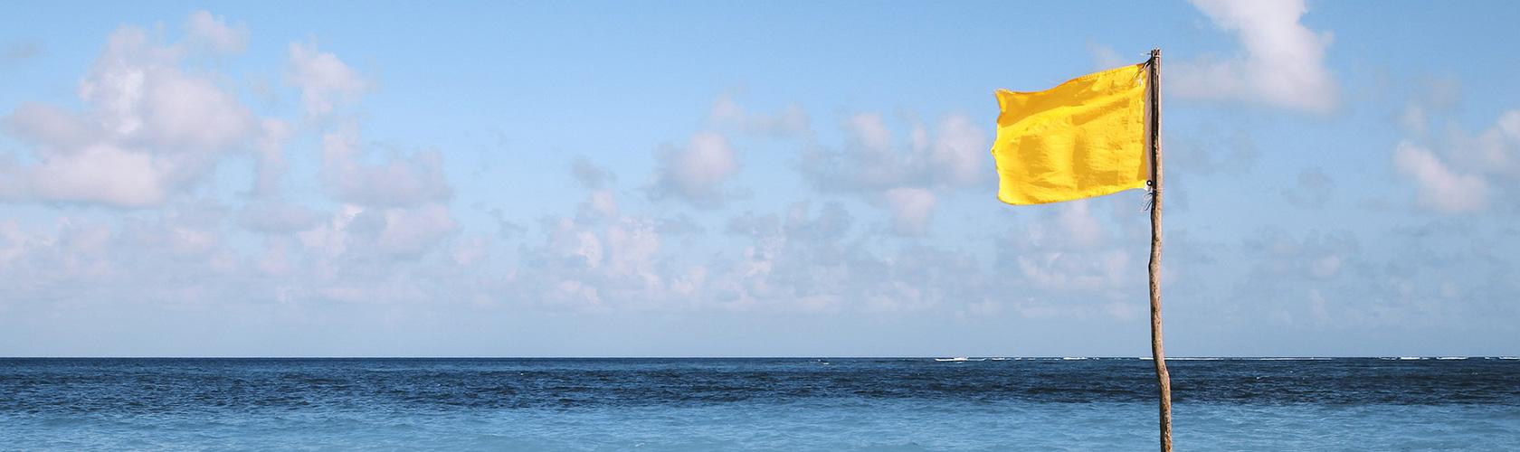 Eine gelbe Flagge weht im Wind. Im Hintergrund das Meer